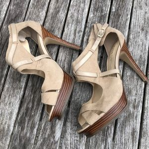 Guess suede and leather platform heels